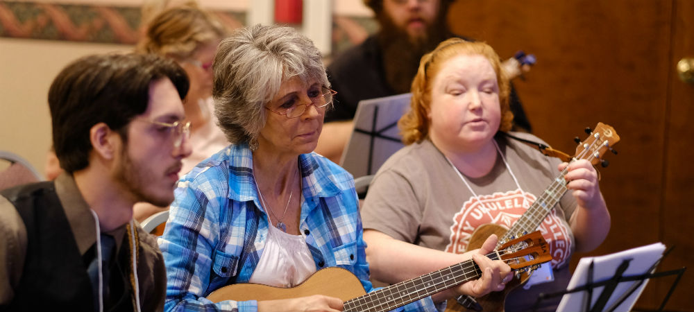 Jamming at the 2017 Allegheny Ukulele Soiree